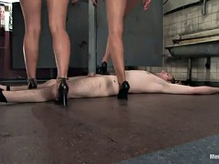strapon bondage for a guy with two hot mistresses