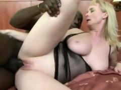 Chubby mature woman's tits bounce as she has her cooch slammed