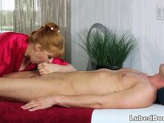 Busty Penny Pax does massage before anal sex