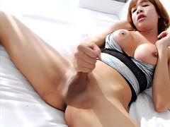 big tits asian lboy masturbates her dick until it cums