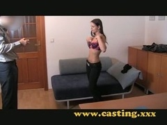 Casting - Beautiful 18-19 year old brunette gets the bang of he