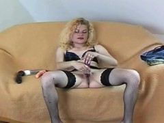 Blonde slut solo masturbating fingering dildo
