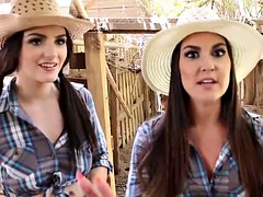 Naughty cowgirls share a cock