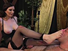 mistress cherry torn makes slave worship her dirty feet