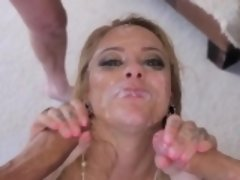 Deepthroating slut facial