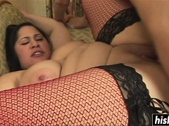 Girl in stockings gets her pussy screwed