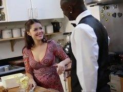 Negro, Mamada, Polla, Comida, Interracial, Cocina, Madres para coger, Chupando