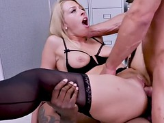 zoey clark temps coworkers to double penetrate her in office