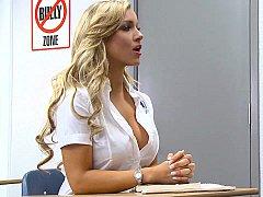 Blonde, Sucer une bite, Mixte, Élève, Se déshabiller, Étudiant, Professeur, Uniforme