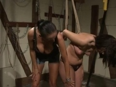Fist-fucking worshipping lesbian bound up for punishment