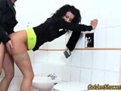 Peeing slut facialized