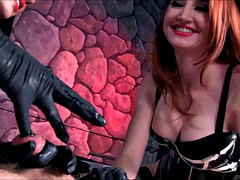 2 mistresses treat slave's cock like a pussy