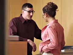 Spanish boss Alexa Tomas and secretary Julia Roca share a rock hard cock