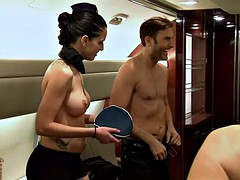 First class passengers kinky in the cabin