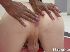 Interracially strapon fucked TS wanks cumload
