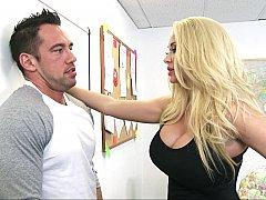 Américain, Blonde, Sucer une bite, Queue, Mère que j'aimerais baiser, Bureau, Actrice du porno, Suçant