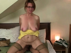 Son in law finds busty mother toying her old hole