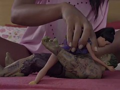 charming latina apolonia lapiedra plays dolls for real