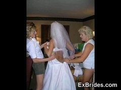 Sometimes bridal parties go likewise far Recompletely ally hot newbie brides in lingerie show it completely all