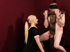 Clothed mistress strokes
