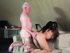 Grandpa Fucks Teenies Sweet Girls In Bedroom threesome
