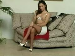 Cute woman is wearing tight long girdle