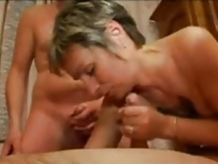 FRENCH Old n32 blonde backdoor mom in three-way