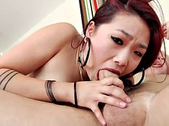 nice ass asian cock sucker shows off her gaping anal after a hardcore pounding
