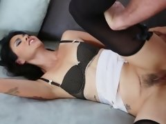 A hardcore chick is fucked by a dude that has a mask on
