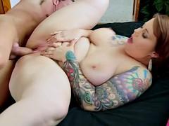 Big Tattooed Girl Takes Cock