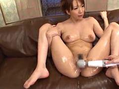 obscene asian babe with natural tits getting her hairy pussy fingered then entranced with vibrators in oily action