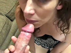 Trisha Delight is swallowing a stiff cock
