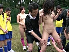 Brunette brune, Groupe, Japonaise, De plein air, Public, Adolescente, Nénés, Jouets