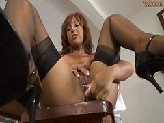 Woman In Stockings Kayla Gets Break Time Pleasures