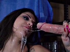 bonnie rotten gags on his prick and does the messiest deepthroat blowjob
