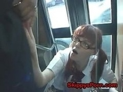 Japanese schoolgirl gets face cumshot on the bus.
