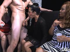 High heels slut gets fucked on stage by male stripper