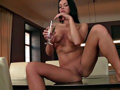 Beautiful Lady In Solo Action On Table