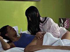 アジア人, 黒人, 異人種間, キス, レズビアン, なめる, 淫乱熟女, 魅力的
