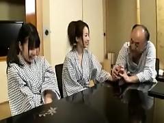 Two seductive Japanese babes take turns sucking and fucking