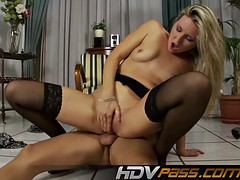 Blonde Babe in Stocking Cherry Jane Deep Throats