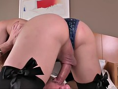 blonde tgirl patricia fucks a guy in the butt and jacks herself off