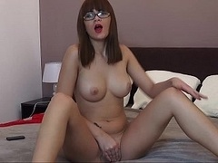 Coed with flawless perky boobs posing on a online camera