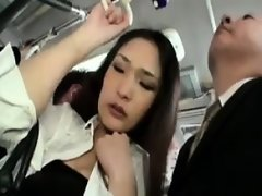 Classy Asian lady has a gang of horny guys touching her bod