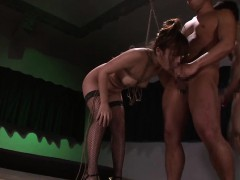Fetish threesome with in latex gloves and stockings