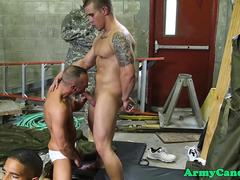 Muscled army studs fuck and suck