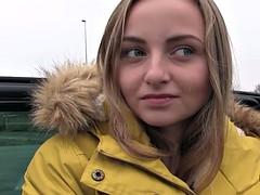 Twenty years old cutie got huge dick in car