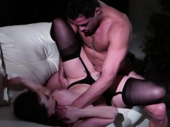 Sexy brunette MILF gets pussy drilled by her stepson