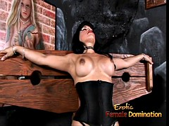 busty transsexual hottie foxxy is a stud licking her latex boots