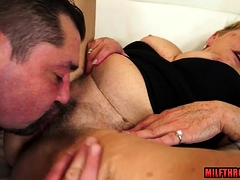 Hairy milf doggystyle and cum on pussy